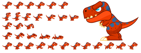 Animated t-rex game character sprites
