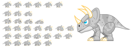 Animated triceratops game character sprites