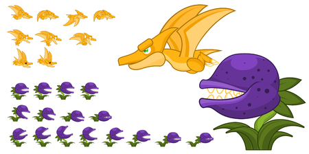 Animated pterodactyl and carnivore plant game character sprites 矢量图像