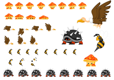 Animated bird turtle bee and mushroom character sprites Stock Illustratie