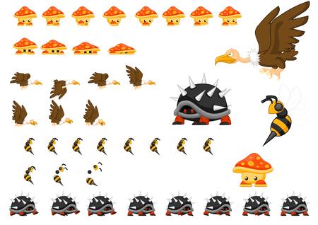 Animated bird turtle bee and mushroom character sprites Illustration