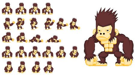 Animated big monkey game character sprites