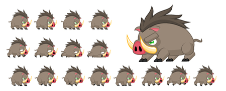 Animated boar game character sprites Illustration