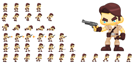 Animated jungle hunter game character sprites