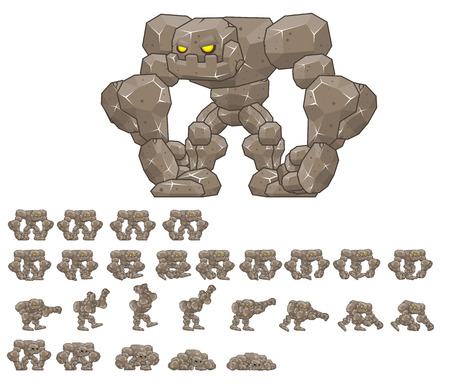 Animated big golem game character sprites Stock Illustratie