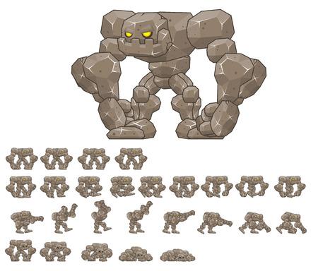 Animated big golem game character sprites Illustration