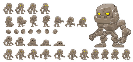 Animated little golem game character sprites