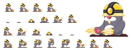 Animierte Sprites für Maulwurfsspielcharaktere