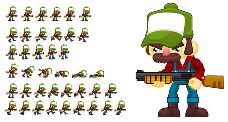 Animated game redneck character sprites