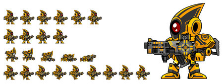 Animated black robot game character sprites Vettoriali