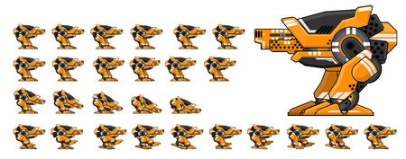 Animated enemy robot game character sprites