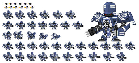 Animated blue robot game character sprites
