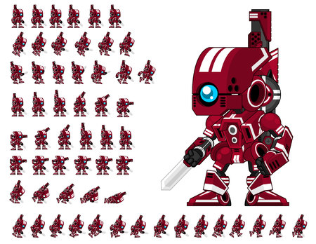 Red robot game character sprites