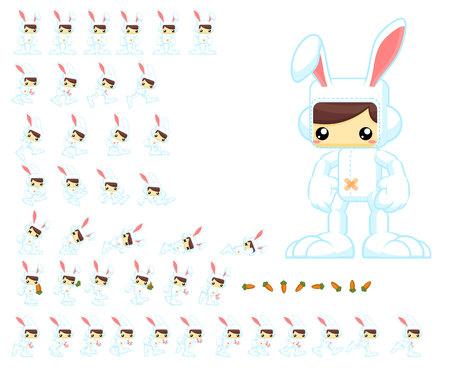 Bunny boy game character sprites Ilustração