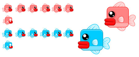 Flabby fish game character sprites