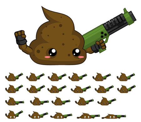 Animated turd game character
