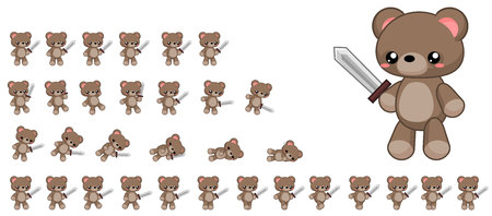 Animated teddy bear game character Stock Illustratie