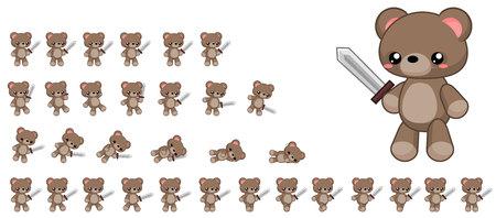 Geanimeerd teddybeer-gamekarakter