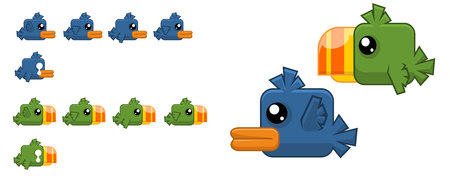 Animated flappy bird game character