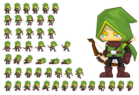 Animated archer hero game character Stock Illustratie