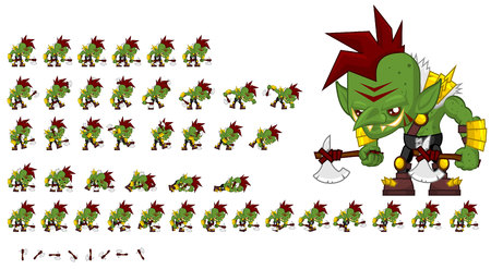Animated orc game character