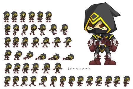Animierter Attentäter-Spielcharakter