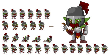 Animated orc archer game character  イラスト・ベクター素材