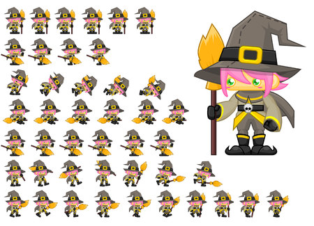 Animated witch girl game character 向量圖像