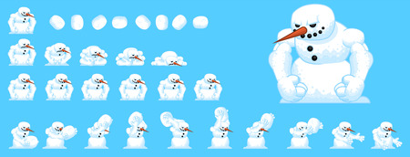 Animated Snowman Game Character Vettoriali