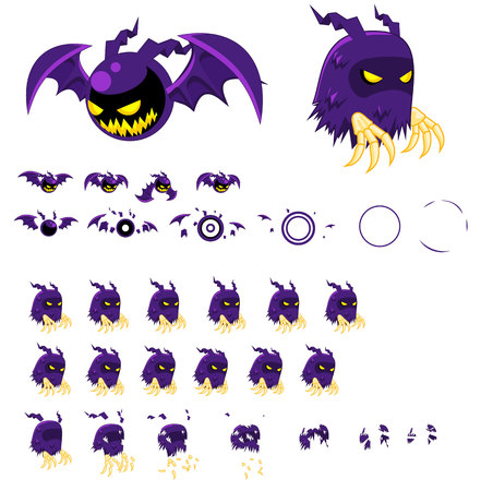 Animated Ghost and Bat Character Banco de Imagens - 107336455
