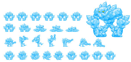 Animated Ice Golem Character