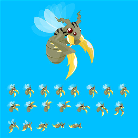 Animated Bee Game Character Çizim