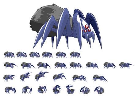 Animierter Spinnenspielcharakter Vektorgrafik