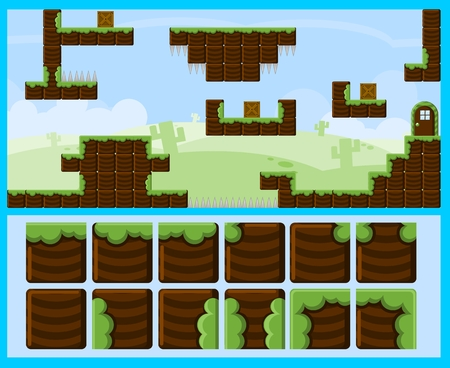 Blocky Land Game Tileset 免版税图像 - 107336487