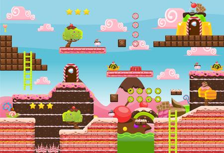 Candy Land Game Tileset Banco de Imagens - 107336502