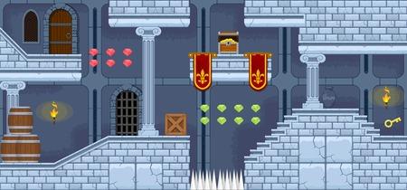 Castle Game Tileset Vettoriali
