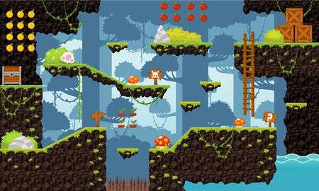 Jungle game level tileset