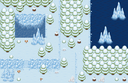 Winter Christmas Top Down Tileset Banco de Imagens - 107336591