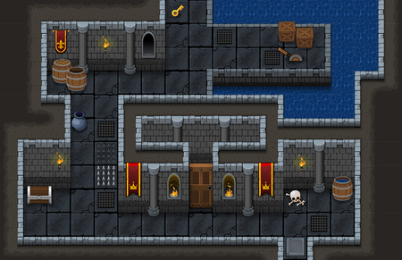 Dungeon Game Level Map Illustration