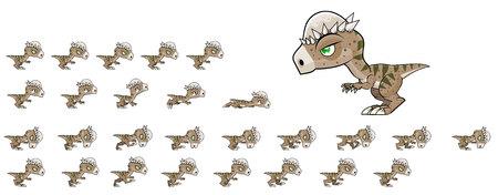 Pachycephalosaurus Game Sprites Banco de Imagens - 117609058