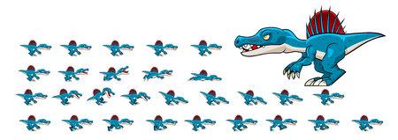 Spinosaurus Game Sprites Иллюстрация