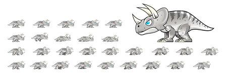 Triceratops Game Sprites 矢量图像