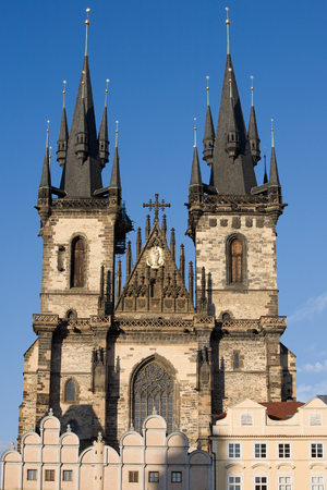 old town square: St. Teyn gothic cathedral on Old Town Square. Prague, Czech Republic, Europe.
