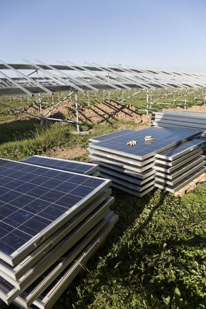 solar power plant: Solar power plant in construction.