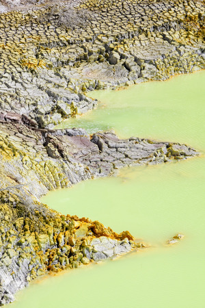 hydrothermal: Devills Cave in Wai-O-Tapu Geothermal Wonderland, Rotorua, New Zealand. Stock Photo