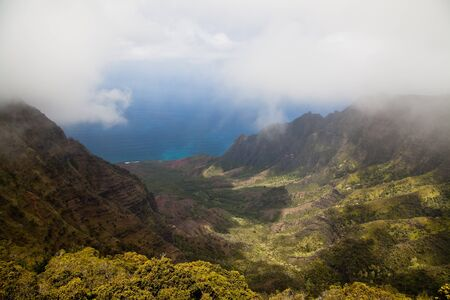 kauai: Kalalau Valley from the top of Waimea Canyon, Kauai, Hawaii Stock Photo