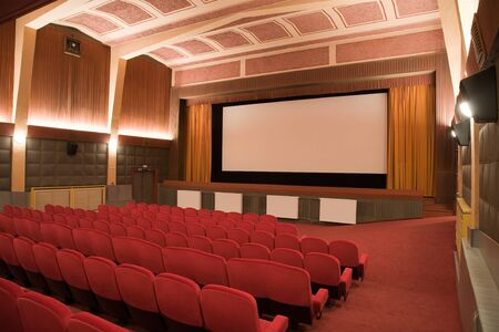 projection screen: Empty retro cinema auditorium in cubism style with line of chairs and projection screen. Ready for adding your own picture.
