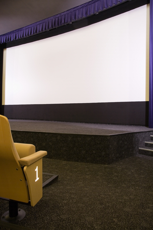 projection screen: First row in cinema auditorium with projection screen. Ready for adding your own picture. Side view.