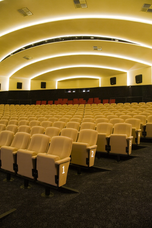 yellow ochre: Interior of cinema auditorium with lines of chairs.