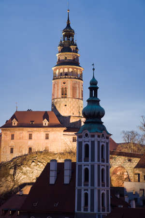krumlov:  historic castle in Cesky Krumlov with downtown houses. Editorial